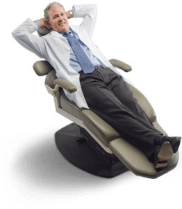 Dentist relaxing in dental chair