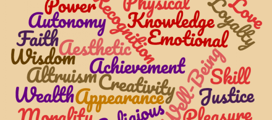 Cloud of words found in values exercise