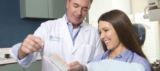 Dentist showing patient a bruxism risk assessment