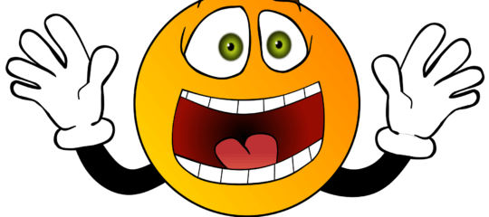 Cartoon smiley face expressing exclaim