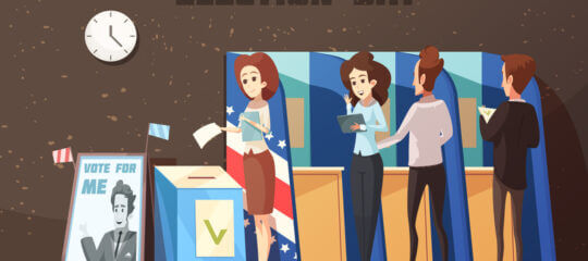 Illustration of voters at polling place